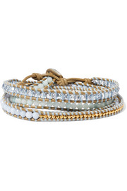 Chan Luu Gold-plated, amazonite, agate and leather wrap bracelet
