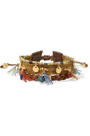 Chan Luu Gold-plated, leather and multi-stone bracelet