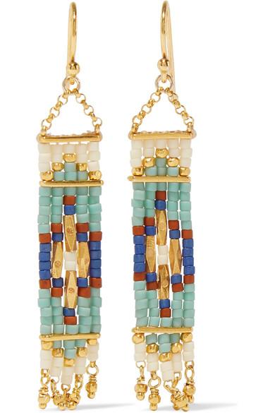 Chan Luu - Gold-plated Beaded Earrings - Mint
