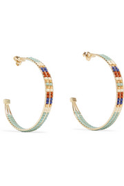 Chan Luu Gold-tone beaded hoop earrings