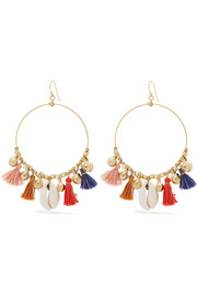 Chan Luu Gold-tone, shell and tassel earrings