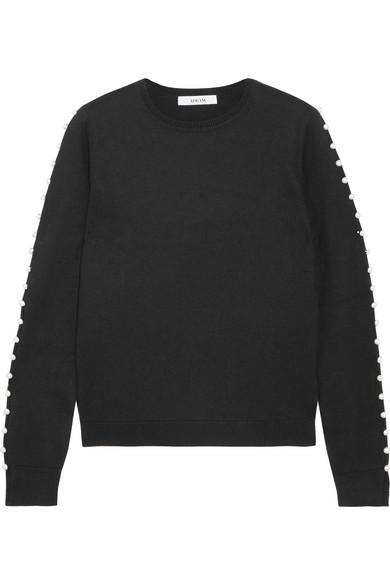 Adeam - Faux Pearl-embellished Silk Sweater - Black