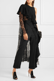 Asymmetric crepe and lace top