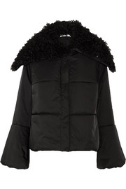 Lace-up shearling-trimmed quilted shell jacket
