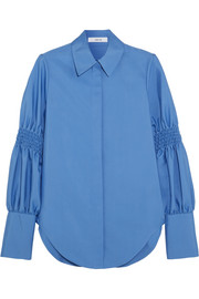 Smocked cotton-blend shirt