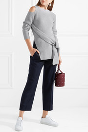 3.1 Phillip Lim Draped cutout ribbed wool and yak-blend sweater