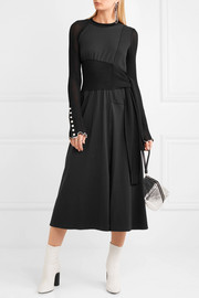 Paneled jersey and cotton-blend midi dress