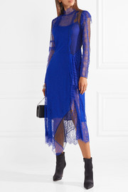 Asymmetric paneled lace midi dress