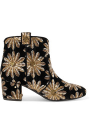 Belen sequin-embellished embroidered velvet ankle boots