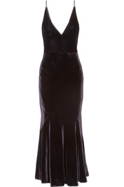 Gabriela Hearst Bridget chiffon-trimmed velvet midi dress