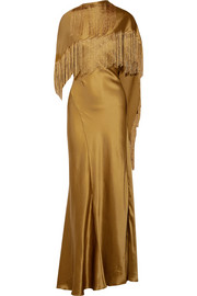 Gabriela Hearst Marlene fringed crinkled silk-satin gown