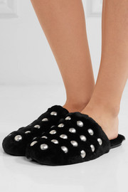Amelia studded shearling slippers