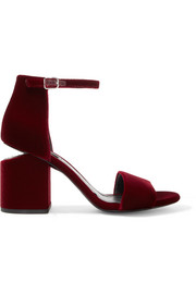 Abby leather-trimmed velvet sandals