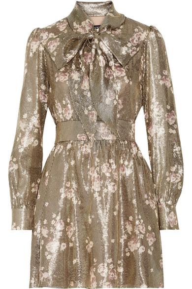 Haney - Fabienne Pussy-bow Silk-blend Jacquard Mini Dress - Gold