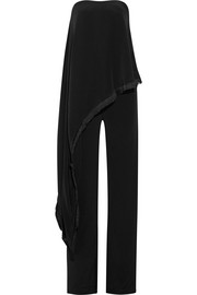 Adam Lippes Fringe-trimmed crepe and silk-satin jumpsuit