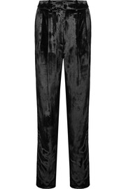 Pleated panne-velvet tapered pants