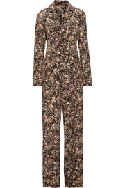 Metallic floral-print silk-twill jumpsuit