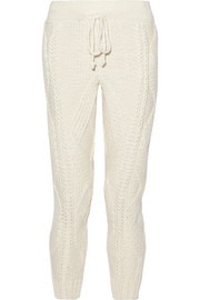 Adam Lippes Cable-knit wool and cashmere-blend track pants