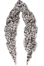 Chan Luu Printed cashmere and silk-blend scarf