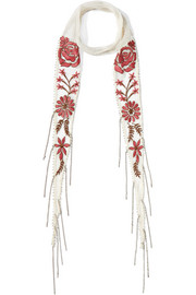 Chan Luu Embellished embroidered chiffon scarf