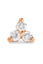 Tiny 14-karat rose gold diamond earring