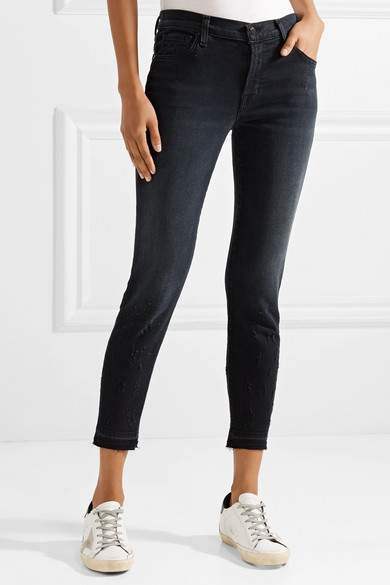 J Brand. 835 distressed cropped mid-rise skinny jeans