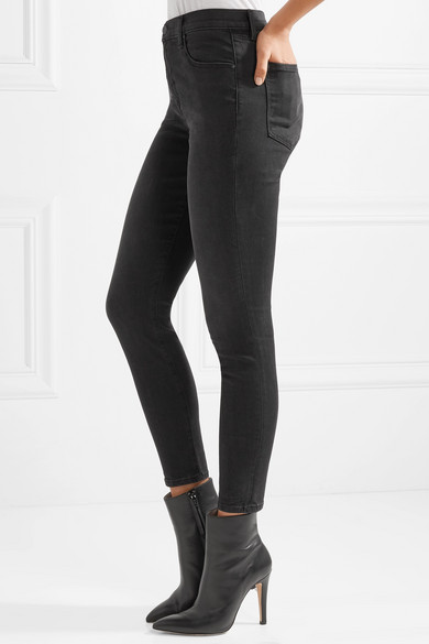 J Brand Alana verkürzte, hoch sitzende Skinny Jeans