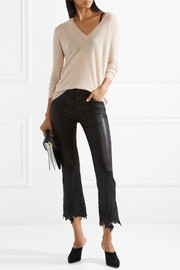 J Brand Selena lace-trimmed cropped coated mid-rise flared jeans