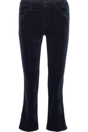 Selena cropped cotton-blend velvet flared pants