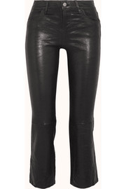 J Brand Selena cropped leather flared pants
