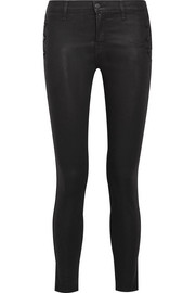 J Brand Zion coated mid-rise skinny jeans