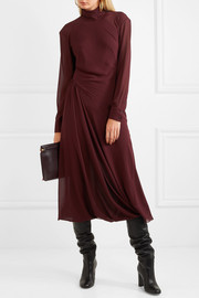 Gathered georgette turtleneck midi dress