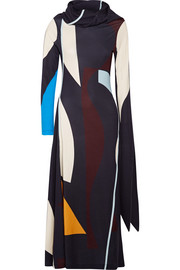 Draped printed stretch-jersey midi dress