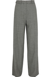 Houndstooth wool-blend wide-leg pants