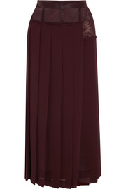 Victoria Beckham Paneled pleated georgette midi skirt