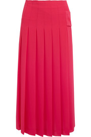 Victoria Beckham Pleated georgette midi skirt