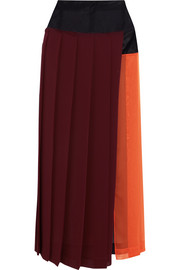 Paneled pleated georgette midi skirt