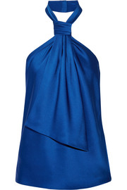 Draped satin-crepe halterneck top