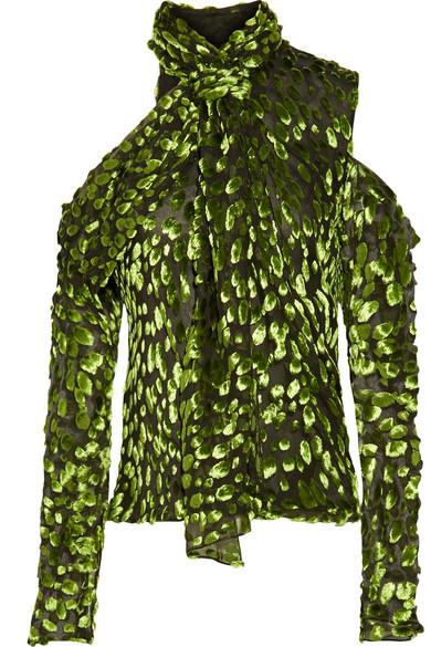 Jason Wu - Cold-shoulder Devoré Silk-blend Top - Leaf green