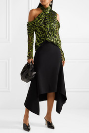 Jason Wu Cold-shoulder devoré silk-blend top