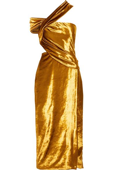 Jason Wu - One-shoulder Cutout Velvet Midi Dress - Gold