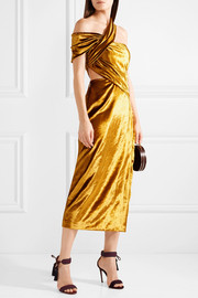 Jason Wu One-shoulder cutout velvet midi dress