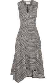 Asymmetric Prince of Wales checked wool midi dress