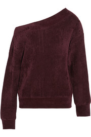 One-shoulder velvet-trimmed chenille sweater