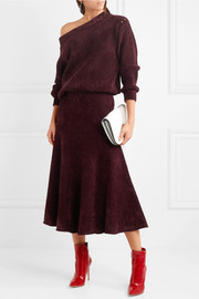 Jason Wu One-shoulder velvet-trimmed chenille sweater