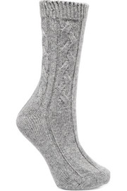 Cable-knit cashmere socks