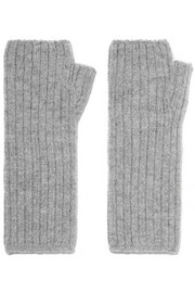 Ribbed cashmere fingerless gloves