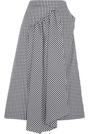 Asymmetric gathered gingham cotton midi skirt