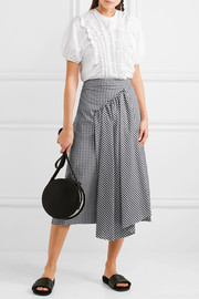 Simone Rocha Asymmetric gathered gingham cotton midi skirt