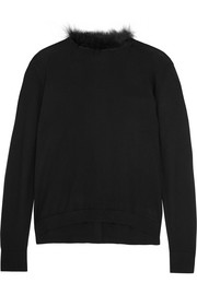 Simone Rocha Feather-trimmed merino wool-blend sweater